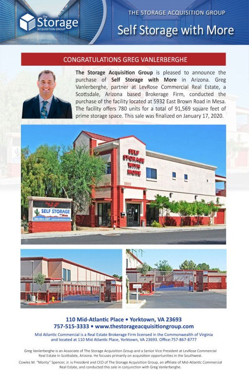 The Storage Acquisition Group Announces the Sale of Self Storage with More