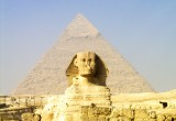 Sphinx and Great Pyramid in Cairo.