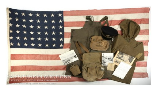 WWII D-Day Flown Invasion Flag of LST 314 & Archive of D-Day Veteran Lt. Henry Oakes