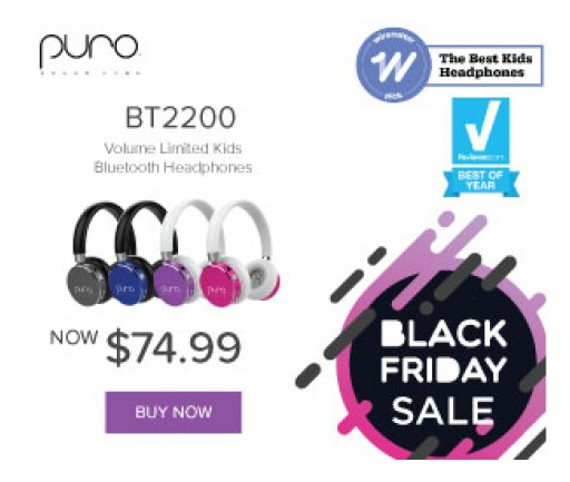Puro Sound Labs Announces BT2200 Black Friday Holiday Pricing and Adds New Colors for 'Best Kid's Headphone'