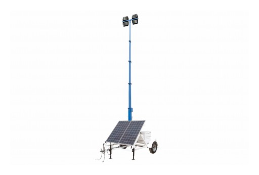Larson Electronics Releases 30' Solar Light Tower, 580 Watts, 14' Trailer, 4 LEDs, 4kW Generator