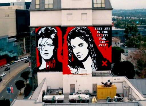 Entertainment Legends David Bowie and Carrie Fisher Memorialized in West Hollywood Murals
