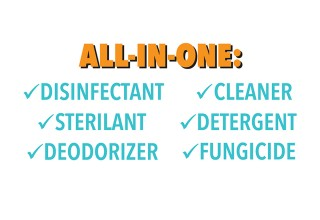 All in one disinfectant, sterilant, deodorizer, cleaner, detergent, fungicide