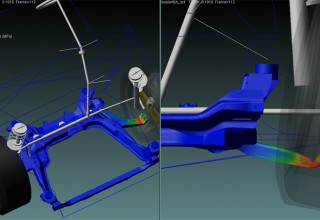 Vehicle Suspension Curb Impact Analysis with MBD-FEA Co-Simulation between Adams & Marc