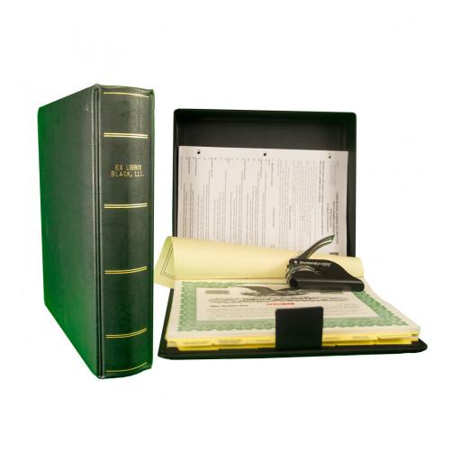 New Ex Libris® Corporate/LLC Kit and Presentation Binder in Black Suede Vinyl