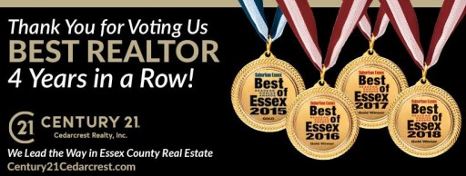 CENTURY 21 Cedarcrest Realty Wins Gold Medal in Real Estate Category in 2018 Best of Essex Awards