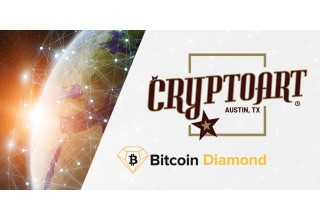 Cryptoart Logo and Bitcoin Diamond Logo with Globe