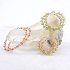 14k Gold Filled Gemstone Wire Wrapped Hoop Earrings