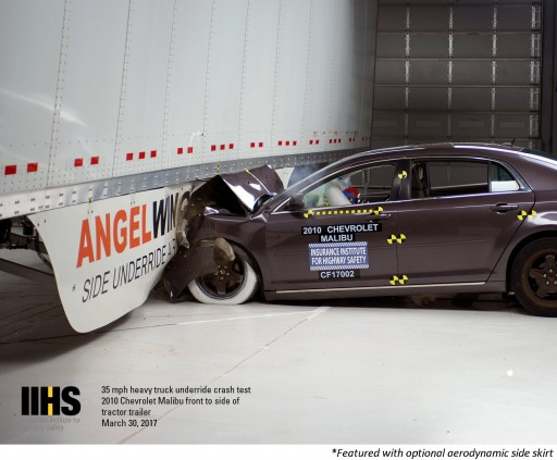 IIHS Crash Tests Reveal Benefits of AngelWing Side Underride Protection Device From Airflow Deflector Inc.