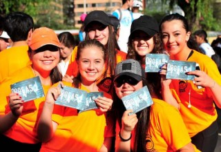Runners and fans received copies of the Truth About Drugs booklets.
