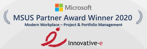 Innovative-e Announced as the 2020 Microsoft US (MSUS) Partner Award Winner Modern Workplace - Project and Portfolio Management 2020