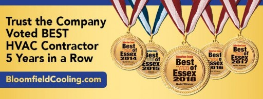Bloomfield Cooling, Heating & Electric Inc. Wins 'Best HVAC Company' for Fifth Year in a Row in 2018 Best of Essex Readers' Choice Awards