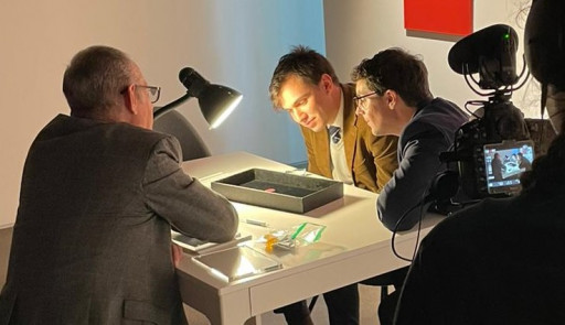Michael Cortese of NobleSpirit and Charles Epting of HR Harmer Visit Sotheby's to Examine World's Most Valuable Stamp
