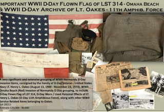 WWII D-DAY INVASION FLOWN FLAG LST 314 & LT. HENRY OAKES ARCHIVE
