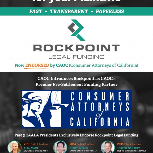 Rockpoint Legal Funding Endorsed by Consumer Attorneys of California (CAOC)