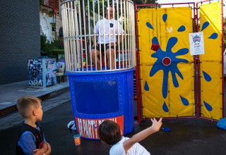 Trying their hand at dunking a cop