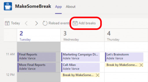 MakeSomeBreak by VirtoSoftware:  New Free App for MS Teams Calendar