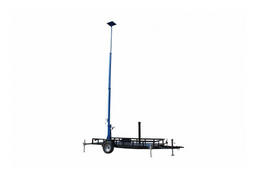 "Larson Electronics Releases Three Stage Light Mast, 10'-20' W/ Wheeled Trailer & 18"" Mounting Platform"