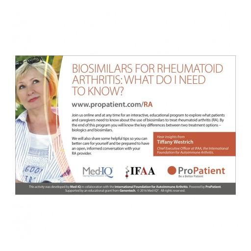 New Online Resource for Patient's Considering Biosimilars to Treat Rheumatoid Arthritis (RA)