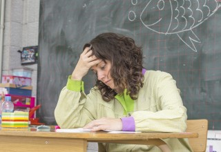 Tired and Stressed Teacher