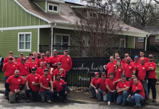 Employees at RGF's 2018 Good Friday Service Project at Mending Hearts in Nashville, Tenn
