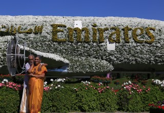 Vijayan & Mohana At massive Emirates flower set in Global Village
