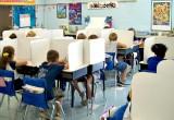 "Students using the 13"" tall desktop study carrels."
