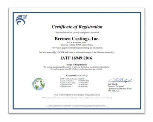 Bremen Castings Inc. Receives ISO 9001:2015 / IATF 16949:2016 Certification