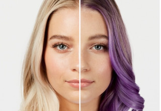 Before and after using ColorBalm shade Lavender