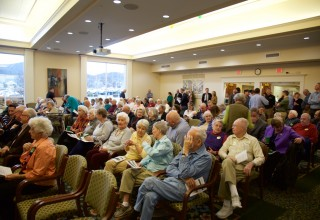 The Kendal at Lexington community celebrated the groundbreaking ceremony from two onsite viewing locations