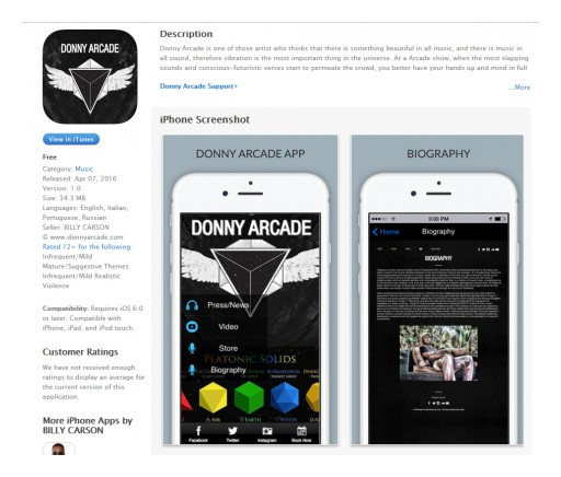 Pantheon Elite Records Releases the @DonnyArcade Conscious Rap Mobile App on the @AppStore and @GooglePlay