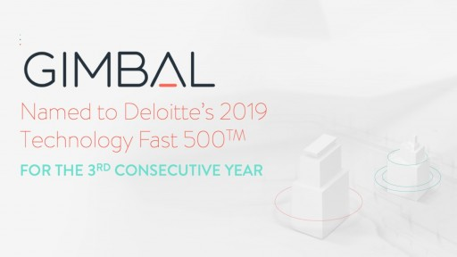 Gimbal Named to Deloitte's 2019 Technology Fast 500™ for Third Consecutive Year