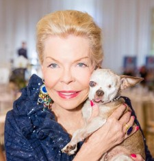 Lois Pope with Harley during an American Humane Association luncheon in March 2016, Palm Beach, Florida.