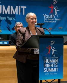 President of Youth for Human Rights International Mary Shuttleworth at the Youth for Human Rights World Summit at the United Nations in New York
