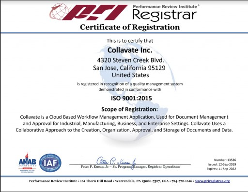 Collavate Attains ISO 9001:2015 Quality Certification