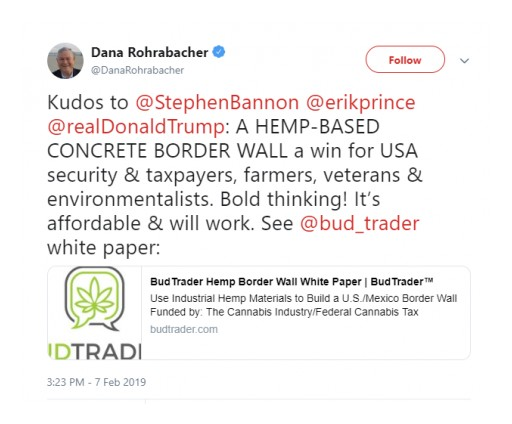 Former California Congressman Dana Rohrabacher Tweets His Support for BudTrader CEO's Hemp Border Wall Proposal