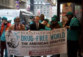 Drug-Free World volunteers gathered at the Church of Scientology New York on Times Square.