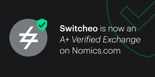 Crypto Exchange Switcheo is Named an 'A+ Verified Exchange' by Market Data Provider Nomics.com