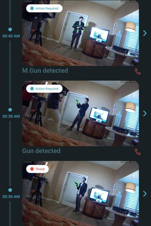 Gun detection example of alert in Athena's app
