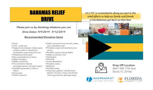 Florida Community Care and Its Parent Company Independent Living Systems Are Collecting Donations to Support the Bahamas as Well as the Evacuees in the Aftermath of Hurricane Dorian