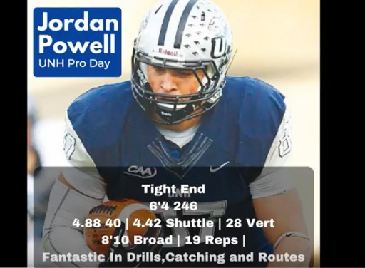 Jordan Powell, UNH Tight End, 6-4, 246, Dominates Pro Day per Inspired Athletes