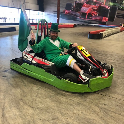 Chase a Leprechaun in a Go-Kart at Autobahn Indoor Speedway