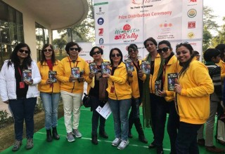 "Youth for Human Rights volunteers at the ""Save the Girl Child"" Campaign sponsored by the city of Uttarakhand in Northern India and the Federation of Indian Chambers of Commerce and Industry (FICCI) Ladies Organisation"