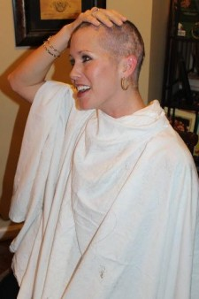 Lindsey Anderson's shaved head