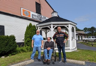 Buyer team in front of Cape Cod Harley-Davidson