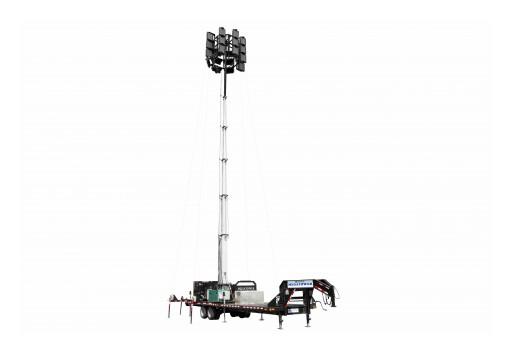 Larson Electronics Releases 65' Hydraulic LED Megatower®, (40) 150W LEDs, 110Gal Tank, 21' Trailer