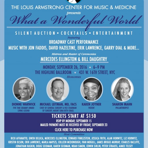 """Louis Armstrong Center for Music and Medicine at Mount Sinai Beth Israel Announces 2016 """"What a Wonderful World"""" Honorees"""