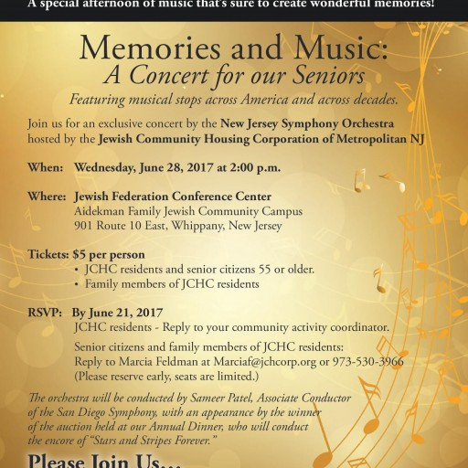 June 28: Jewish Community Housing Corporation to Host Symphony Concert for Residents and Area Seniors