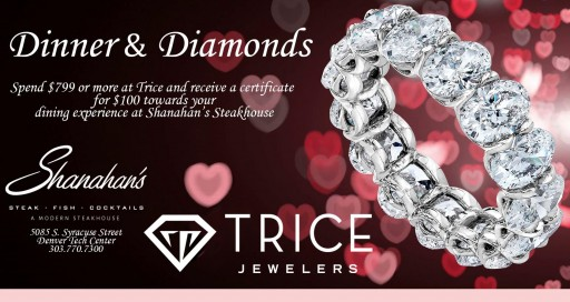 Trice Jewelers Offers Shoppers $100 Gift Certificate to Local Steakhouse With Dinner and Diamonds Promotion