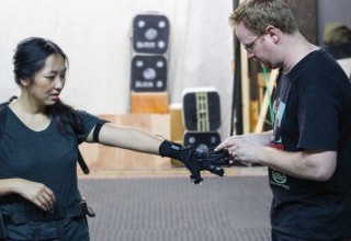 Ari Karczag giving a helping hand at mocap session